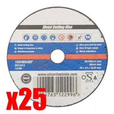 25 Discos de corte para metal, 76 MM.