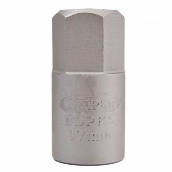"Llave vaso para carter 3/8"" hexagonal 17 mm."