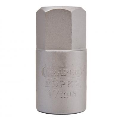 """Llave vaso para carter 3/8"""" hexagonal 17 mm."""