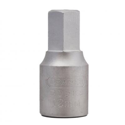 """Llave vaso para carter 3/8"""" hexagonal 12 mm."""