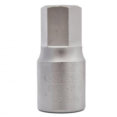 """Llave vaso para carter 3/8"""" hexagonal 14 mm."""