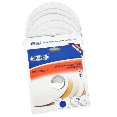 5 discos de lijado autoadhesivos 150 mm. Óxido de aluminio blanco de grano 180