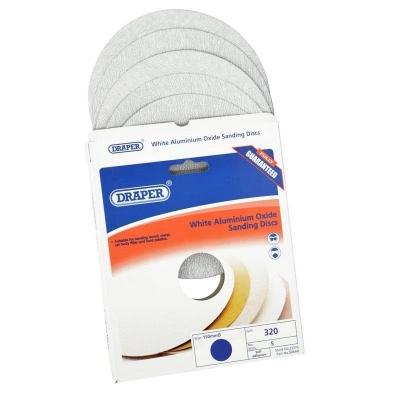 5 discos de lijado autoadhesivos 150 mm. Óxido de aluminio blanco de grano 320