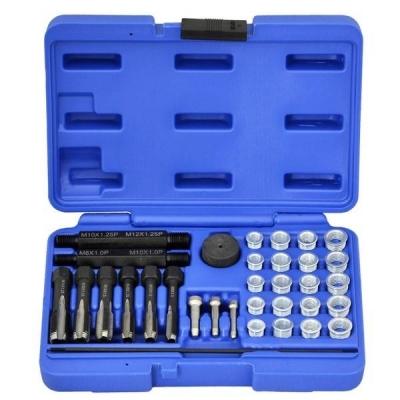 Kit reparador de roscas de calentadores M8, M10 y M12. 33 piezas.