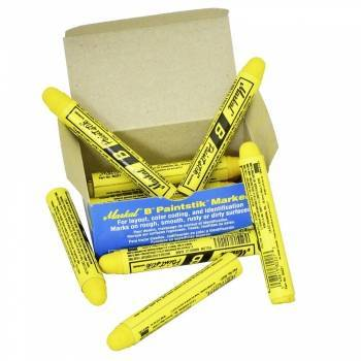 Marcadores para neumáticos de cera amarilla Paintstik. Caja de 12