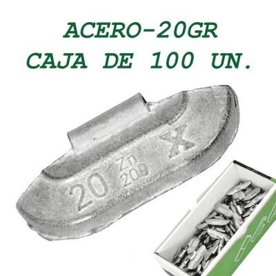Contrapesa tipo clip para llanta de acero. 20 gramos