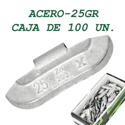 Contrapesa tipo clip para llanta de acero. 25 gramos