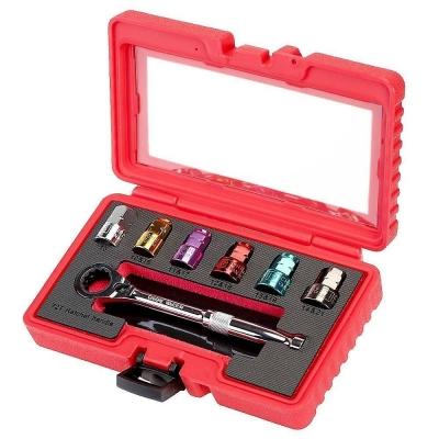 Juego de llaves de vaso pasantes de colores. 10 - 21 mm