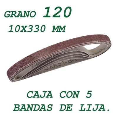 5 bandas de lija de 10x330 mm. Grano 120