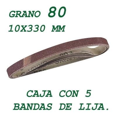 5 bandas de lija de 10x330 mm. Grano 80