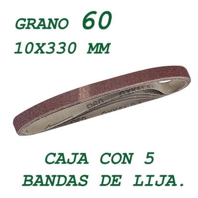 5 bandas de lija de 10x330 mm. Grano 60