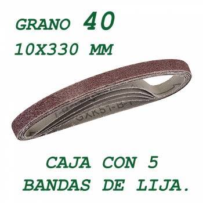 5 bandas de lija de 10x330 mm. Grano 40