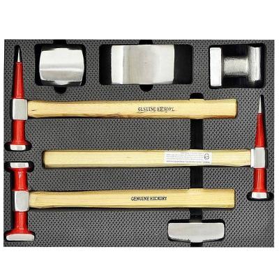 Juego profesional de martillos y tases de chapista. 7 piezas